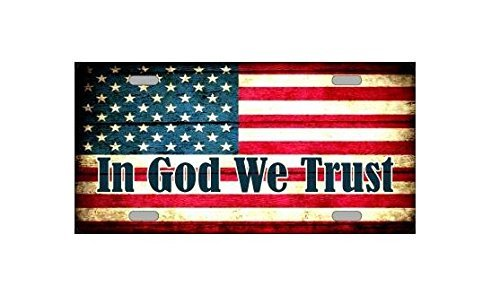 (In God We Trust American Flag Design Novelty Vanity License Plate Tag Sign)