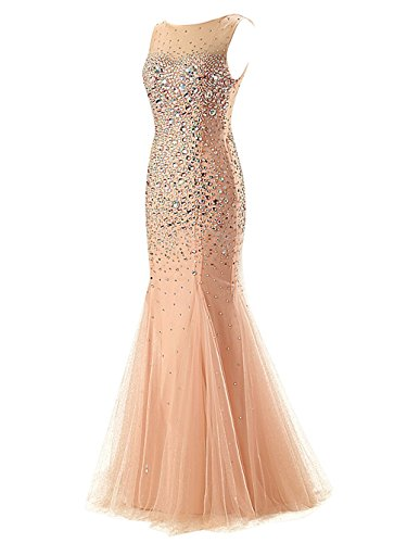 Evening Ballkleid Sleeve Meerjungfrau Lang Abendkleider Cap Crystal Coral Damen Gowns 2016 Fanciest TqpzAxT