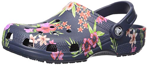 Crocs Classic Printed Floral Clog Shoe, Tropical Floral/Navy, 7 US Women / 5 US Men M - Printed Croc