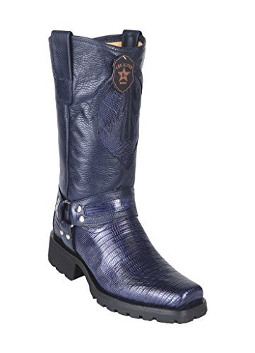 Men's Biker Design Navy Blue Genuine Leather Teju Lizard Western Boots W/Industrial Sole