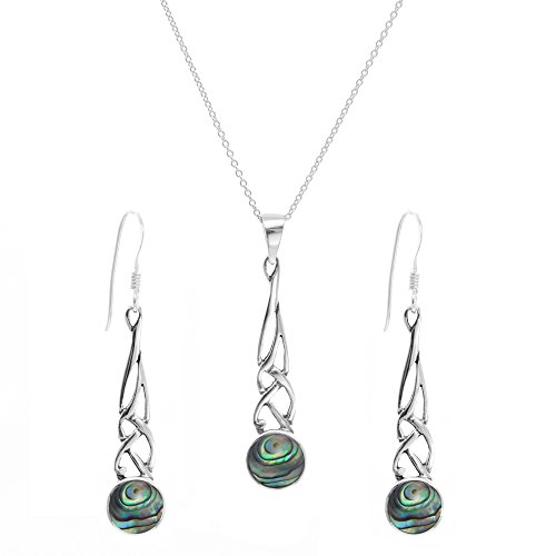Gaelic Jewelry - Silverly Women's .925 Sterling Silver Abalone Shell Celtic Knot Dangle Earrings Necklace Set, 46 cm