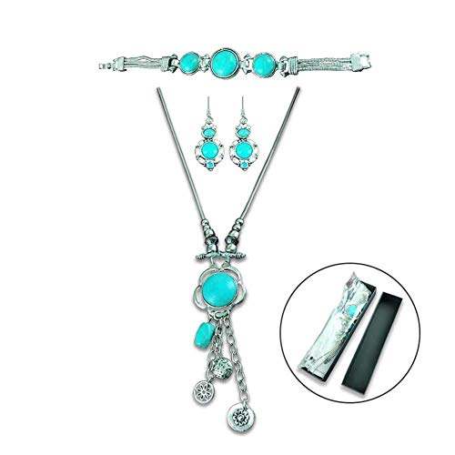 XY Fancy Retro Craft Vintage Look Antique Silver Plated Snail Pendant Necklace Bracelet Earrings Real Turquoise Jewelry Sets with Case Fashion Gift for Women Wife
