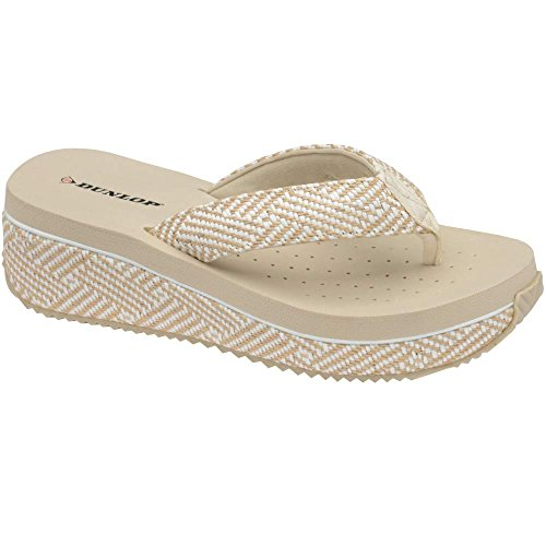 Dunlop - Chanclas chica mujer Beige-Woven