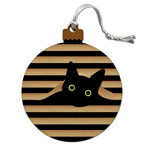 Black Cat In Window Wood Christmas Tree Holiday Ornament (Black Cat Christmas Ornament)