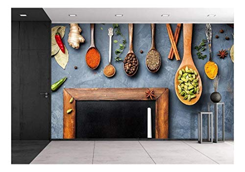 wall26 - Various Spices Like Turmeric, Cardamom, Chili, Ginger, Star Anise and Cinnamon Near Blackboard - Removable Wall Mural   Self-Adhesive Large Wallpaper - 66x96 inches