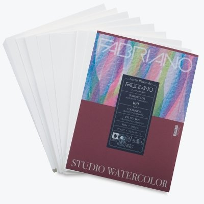 Fabriano Studio Watercolor Paper 90 lb. Cold Press 100-Sheet Pack 9x12