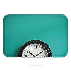 Flannel Microfiber Non-slip Rubber Backing Soft Absorbent Doormat Mat Rug Carpet Clock On Mint Green Wall Background Vintage Effect Concept Of Time 316548389 for Indoor/Outdoor/Bathroom/Kitchen/Workst