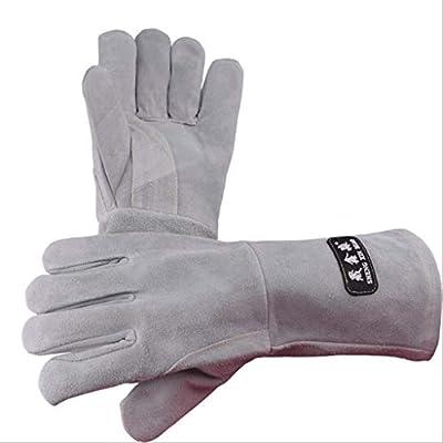 Hongyan Gloves Guantes de Soldadura de Cuero Completo Terciopelo de Doble Capa Resistente al Desgaste Soldador de Alta Temperatura Mano a Prueba de Corte ...
