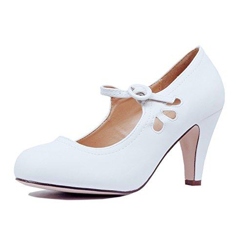 s Retro Round Toe Ankle Strap Low Kitten Heel Mary Jane Dress Pumps (8.5 B(M) US, Whitev1 Pu) ()