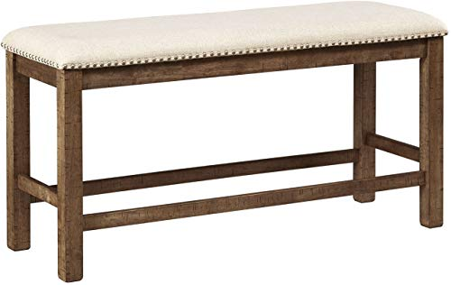 Ashley Furniture Signature Design - Moriville Counter Height Dining Room Bench - Grayish Brown ()
