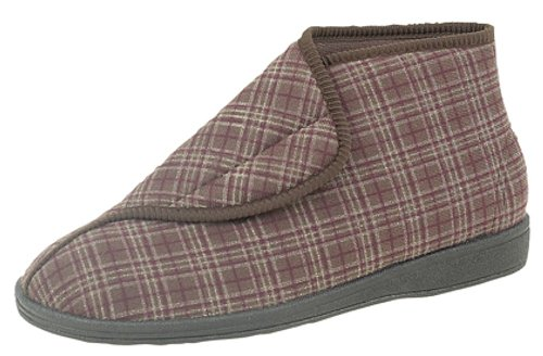 Men's BRETT II touch & close Boot Slippers Machine Washable X-Wide Fitting UK Brown EpUMewJ