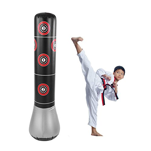 Vbestlife Boxing Sandbags,14.5m/1.5m Inflatable Boxing Punching Kick Training Tumbler Bag Stand Power Tower MMA Target Bag for Children Teens Adult – DiZiSports Store