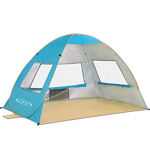 G4Free Outdoor Automatic Pop up Instant Portable Cabana Beach Tent 2-3 Person Fishing Anti UV Beach Tent Beach Shelter, Sets up in Seconds(Lake Blue) (Instant Beach Cabana)