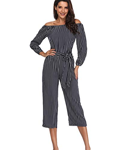 Petite Striped Romper - Argstar Women's Off Shoulder Jumpsuits Casual Striped 3/4 Sleeve Sexy Strapless Rompers Cropped Pants with Blet