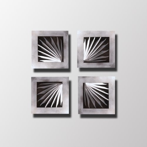 """Price comparison product image """"Spectrum Black / Silver"""" Modern Contemporary Abstract Metal Wall Sculpture Art Work Black Painting Home Decor"""