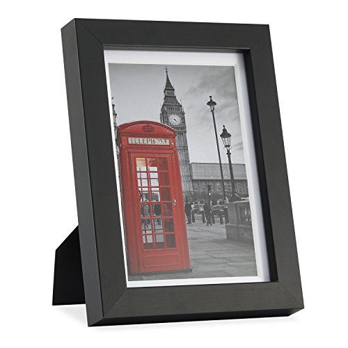 ONE WALL Tempered Glass 5x7 Picture Frame with Mats for 4x6 Photo, Black Wood Frame for Wall and Tabletop - Mounting Hardware Included