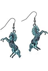 PammyJ Patina Tone Western Horse Dangle Earrings