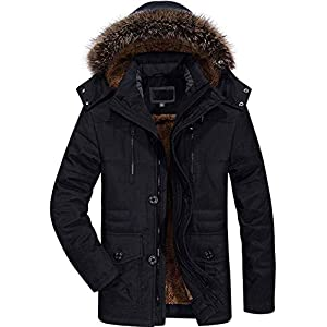 Winter Coats Jackets for Men Warm Parka Faux Fur Lined with Detachable Hood