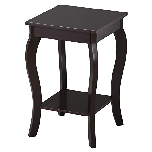 Topeakmart Wood Curved Legs Accent Side End Table Sofa End Table w/Lower Shelf Espresso, Set of 2 by Topeakmart (Image #3)