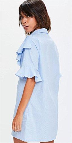 Asimétrico Bajo de Volante Volantes Manga Corta Cuello Botones Abotonada Delantera con Rayas Minivestido Mini de Corte Camisa Shift Straight de Cambio Recto Boxy Dress Vestido Azul Azul