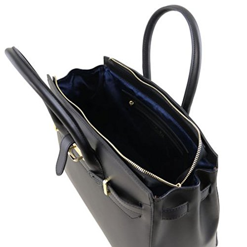 con Nude oro Nero TL141548 media Elettra a Leather mano Tuscany Borsa ruga accessori in pelle Owzxq