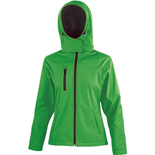 Result Core Ladies Performance Hooded Softshell Coat Vivid Green/ Black