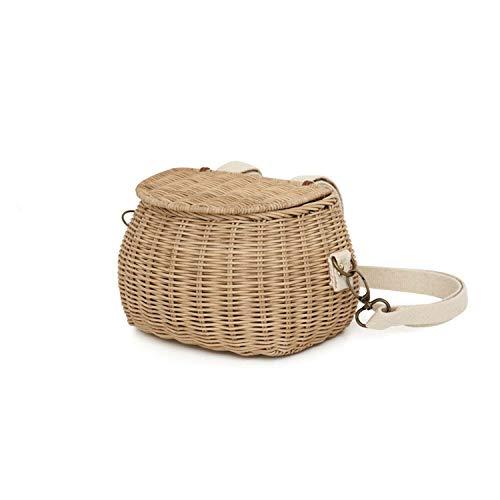 Vintage rattan beach straw bag Children's rattan shoulder messenger bamboo basket bag,beige,L (Cheap Rattan Baskets Singapore)