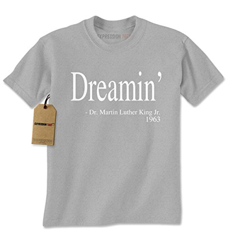 Mens Dreaming MLK Quote T-Shirt XX-Large Heather Grey (Adult African King Costume)