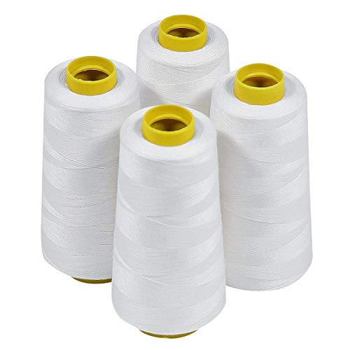 ThreadNanny 4_White_3k 4 Cones of Polyester Threads for Sewing Quilting Serger, White, 3000 yd, Large