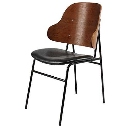 Dining Chair Single Garden Home Backrest Chair - Upholstered PU Leather Cushion Chair - Bar Stools Catering Retro Industrial Style Countryside Seat Chair from HYXI-Chair