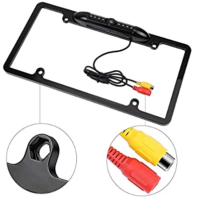 GTP Vehicle Backup Camera License Plate Frame Rear View Wide Angle Parking Assist Kit - Waterproof Nigh Vision High Sensitive IR LED: Car Electronics