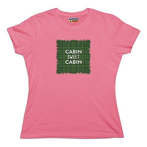 Cabin Sweet Cabin Green Plaid Novelty T-Shirt - Pink - Women's Large -