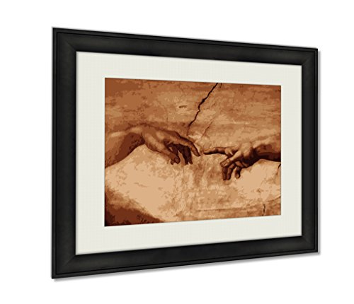 Ashley Framed Prints, Sistine Chapel Michaelangelos Creation Of Adam Wall Art Decor Giclee Photo Print In Black Wood Frame, Soft White Matte, Ready to hang, 16x20 Art