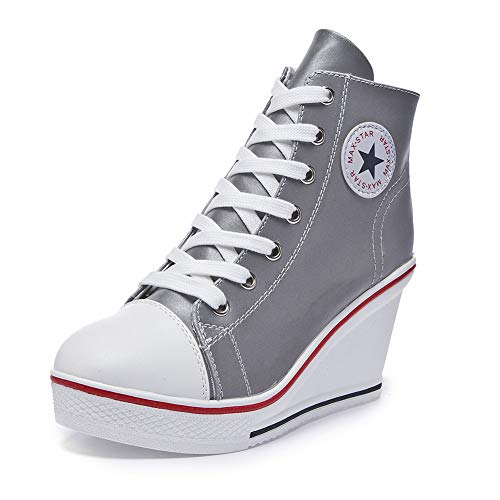 Sokaly Women's Sneaker High-Heeled Canvas Shoes High-Top Wedge Sneakers Platform Lace up Side Zipper Pump Fashion Sneakers (9 B(M) US, Fluorescent White)