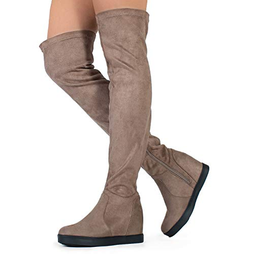 (RF ROOM OF FASHION Women's Vegan Suede Hidden Platform Wedge Round Toe Slip On Over The Knee Boots Taupe (11))