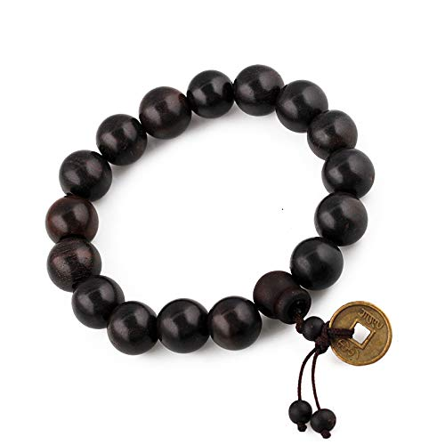 Tibetan Buddhist Wood Beads Mala Meditation Wrist Bracelet-Set of Two (Feng Shui Coin) ()