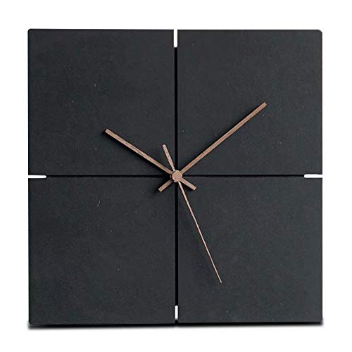 Jpettie Modern Silent Non-Ticking Wall Clock Battery Operated, Black Wooden Wall Clocks for Office Home Living Room Bedroom Kitchen (12 inch, Frameless)