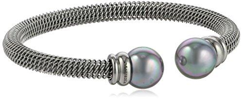 Majorica 12mm Grey Pearls on Silver Stainless Steel Cuff Bracelet