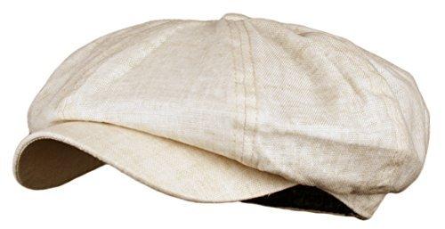 - Men's Linen 8 Panel Applejack Gatsby Newsboy Ivy Hat (Putty)