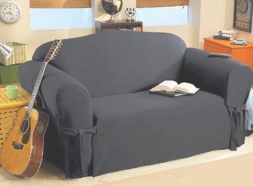 SOLID SUEDE Couch Cover 3 Pc. slipcover Set = Sofa + Lovesea