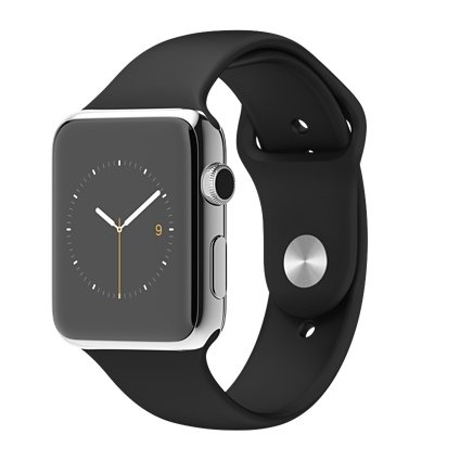 Apple Watch 42mm Stainless Steel Case with Black Sport Band