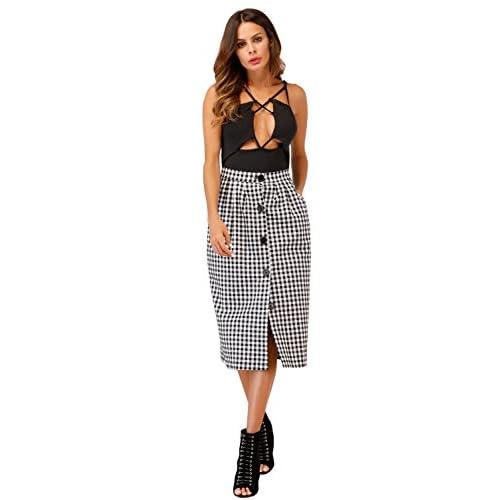 0a9444ecec new GUXMO Women Elegant Front Split Button Grid Midi Skirt With Pockets