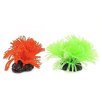 eDealMax Forma acuario Artificial Flor de la Flor del ornamento Coral 7.5 pulgadas 2pcs