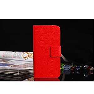 Buy Solid Color PU Leather with Stand for iPhone5/5S , Red