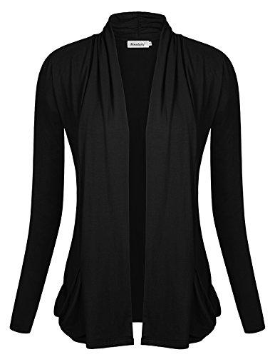 Ninedaily Women Open Front Classic Long Sleeve Shawl Neck Pocket Cardigan