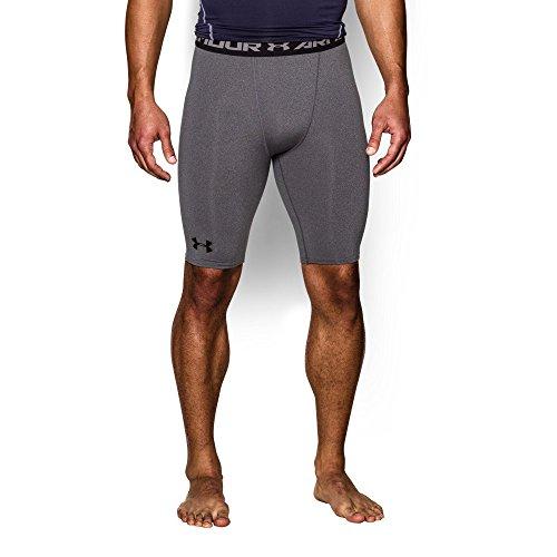 Under Armour Men's HeatGear Armour Compression Shorts - Long, Carbon Heather/Black, X-Large