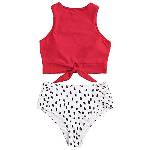 - Sofia's Choice Two Piece Swimsuit for Women Tie Front Crop Top and High Waisted Polka Dots Bikini Bottom Bathing Suits