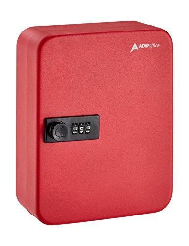 (AdirOffice Key Steel Security Cabinet Box - 30 Keys Slots - Combination Lock - Red)
