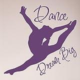 24''x24'' Dance Girl Silhoutte Dream Big Wall Decal Sticker Gymnastics Art Mural Home Decor Quote Wall Decal Sticker Art Mural Home Decor Quote
