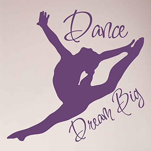 24''x24'' Dance Girl Silhoutte Dream Big Wall Decal Sticker Gymnastics Art Mural Home Decor Quote Wall Decal Sticker Art Mural Home Decor Quote